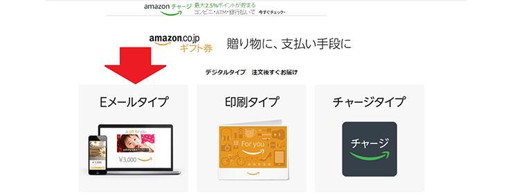 Eメールタイプを指すAmazonギフト券購入ページサムネイル